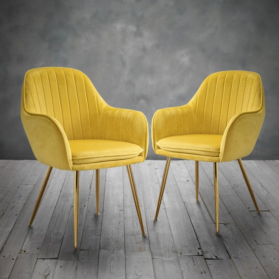 Lara Dining Chairs Vintage Yellow With Gold Legs 2x
