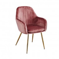 Lara Dining Chairs Vintage Pink With Gold Legs 2x