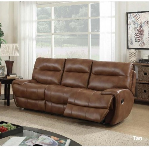 Bailey Recliner Leather Gel & PU 3 Seater Tan