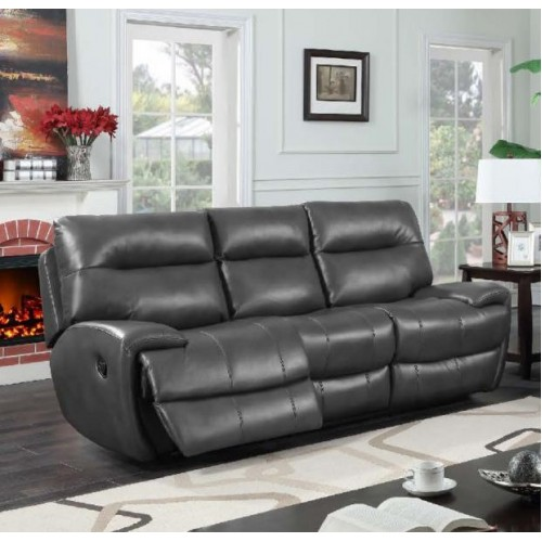 Bailey Recliner Leather Gel & PU 3 Seater Grey
