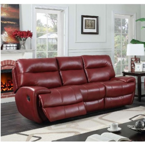 Bailey Recliner Leather Gel & PU 3 Seater Wine RED