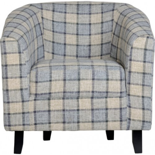 Hammond Tub Chair Grey Check Fabric