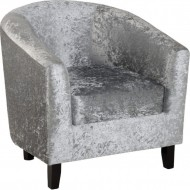 Hammond Tub Chair Silver Crushed Velvet