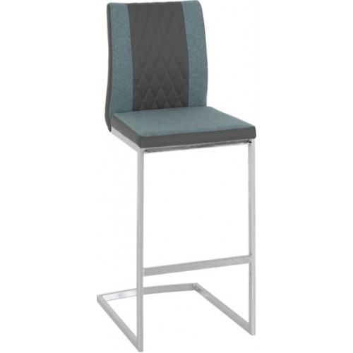 Sienna Bar Chair Grey Faux Leather Teal Fabric Chrome