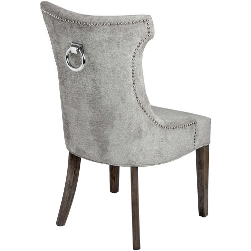 High Wing Ring Backed Dining Chair Silver