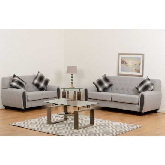Chester 3+2 Suite Light Grey Fabric